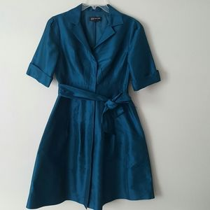 JONES NEW YORK Teal Silk Cocktail Holiday Dress- 8